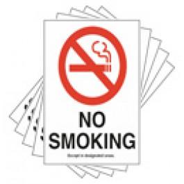 No Smoking Signs - set of 5